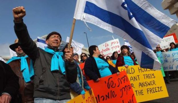 Right-wing Jews protesting against the settlement freeze