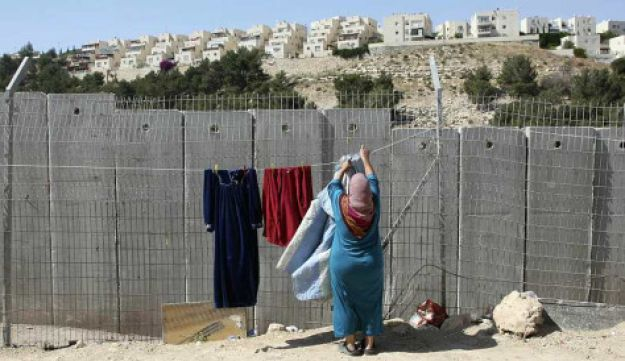 Woman next to West Bank fence
