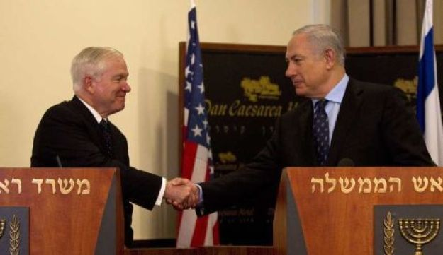 Gates with Netanyahu - AP - March 25, 2011