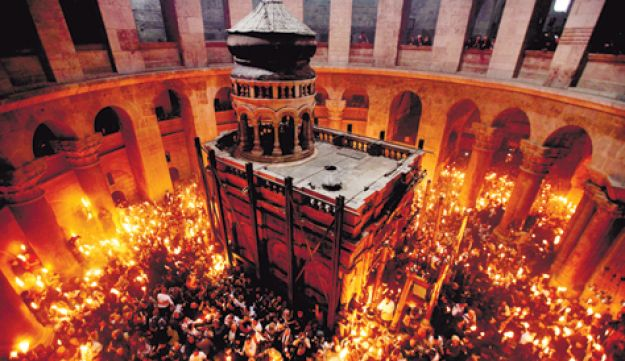 Worshippers thronging the Church of the Holy Sepulchre during the Christian Orthodox Holy Fire cerem