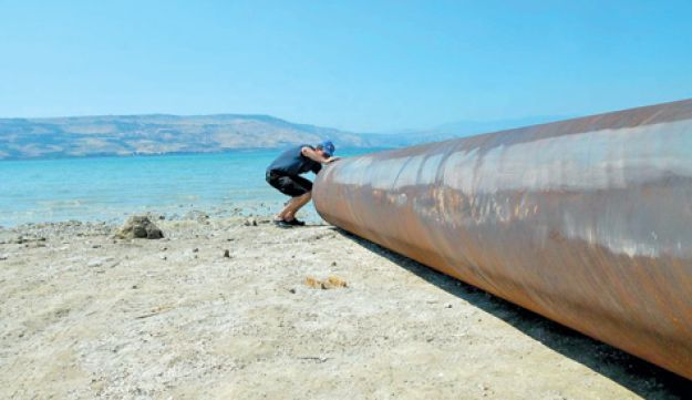 A pipe used to pump water from Lake Kinneret