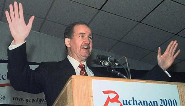 Pat Buchanan on the campaign trail in 1999