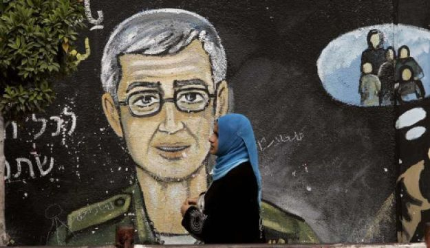 A painting depicting Gilad Shait in Gaza