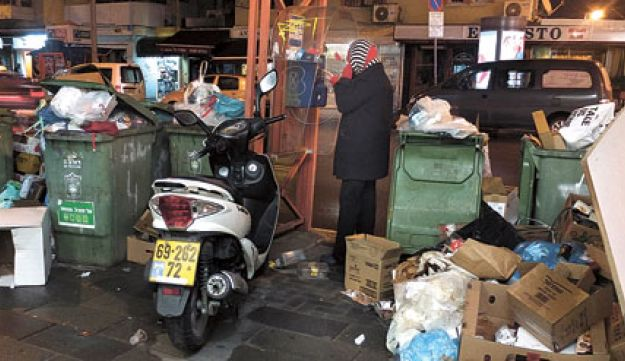 Garbage piling up on the streets of Tel Aviv.