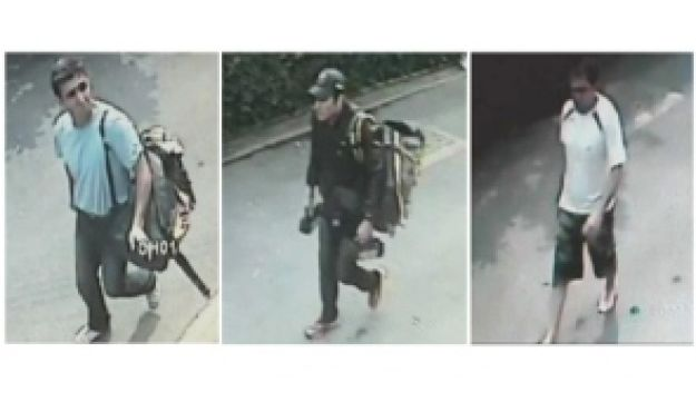 This combination picture showing three men suspected to be involved in three blasts in Bangkok in st