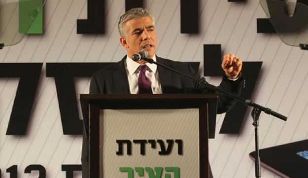 Lapid, in his first official address since announcing his entry into politics, on Feb. 16, 2012.