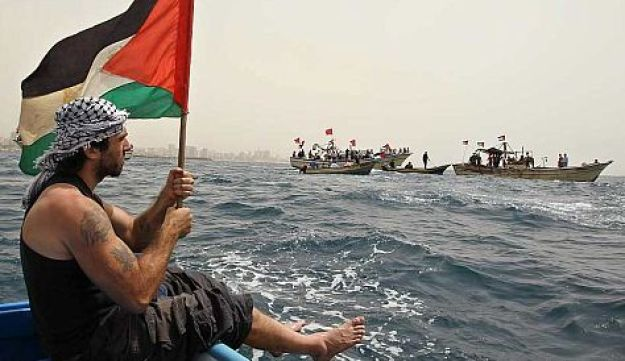A pro-Palestinian activist protesting at the Gaza Seaport