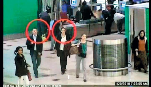 An image grab from a video released by Dubai police in February allegedly showing two suspects