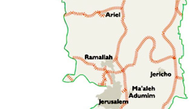 Map of planned West Bank train line