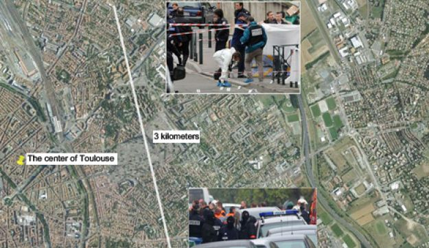 A Google Earth image showing the site of the raid on the suspect in the Toulouse shooting.