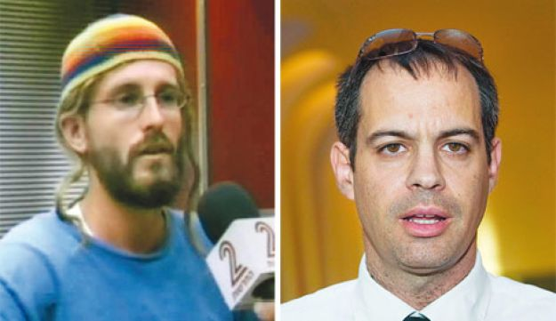At left, Chaim Pearlman speaking to Channel 2 News yesterday. At right, the suspect's attorney Adi K