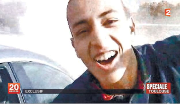 An image grab of Mohammed Merah from French television.
