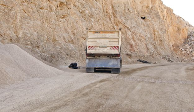 Israeli-owned quarry truck in the West Bank.