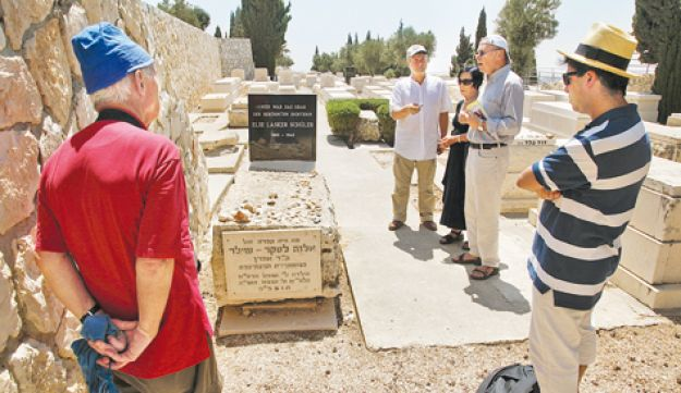 Paying homage at Else Lasker-Schuler's grave and (inset) the poet, who came to Palestine from her na