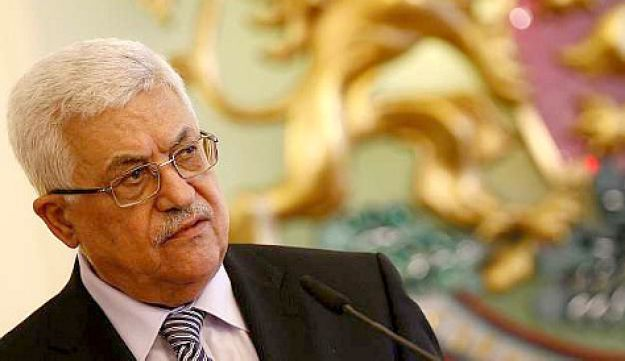 Palestinian President Mahmoud Abbas speaking in Bulgaria