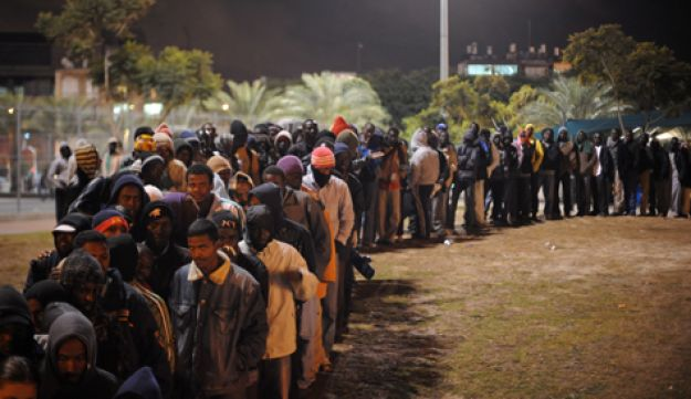 African refugees and labor migrants in a park near the Central Bus Station in Tel Aviv.
