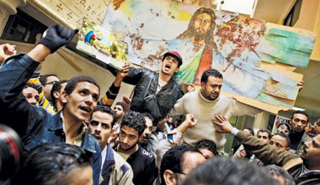 Coptic Christians praying in January after a bombing in an Alexandria church.