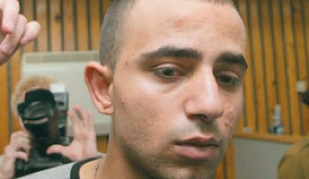 Sgt. Taysir Hayb in court in 2005. Inset, the activist Thomas Hurndall in Gaza in 2003.