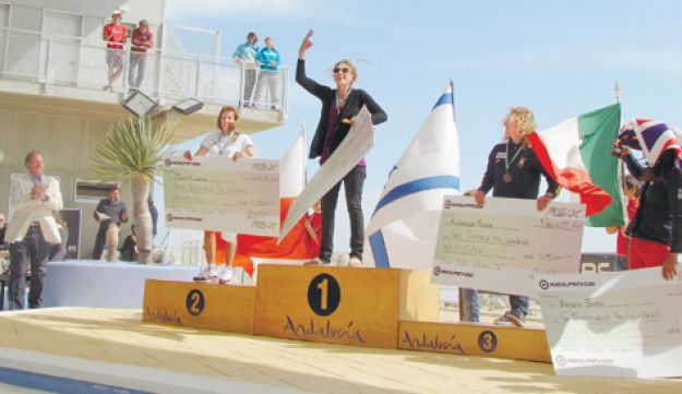 CHAMPION AGAIN: An ecstatic Lee Korzits celebrating her third World Championship crown in Cadiz.