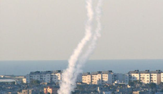 A Qassam being fired from Beit Hanun in the Gaza Strip, 2008.