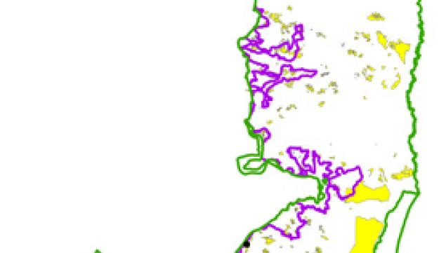 The yellow in this map of the West Bank show the areas earmarked for settlement expansion.The green