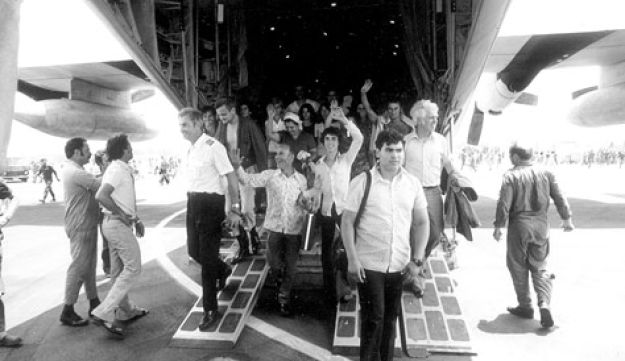 The rescued Entebbe hostages (Courtesy of IDF archives)
