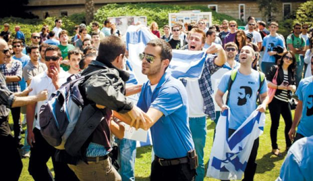 Im Tirtzu activists clashing with students at Tel Aviv University while calling for closure of left-leaning Political Science Department at Ben-Gurion University.