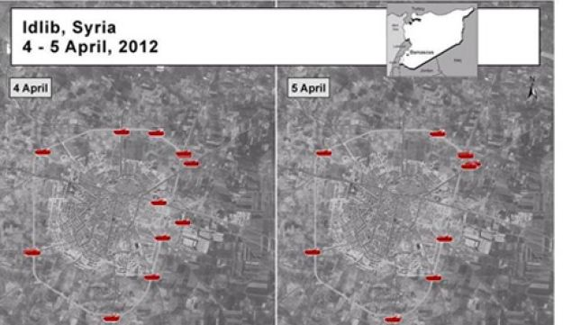 A satellite image posted by U.S. envoy Ford on Facebook shows armored vehicles in Syria's Idlib.