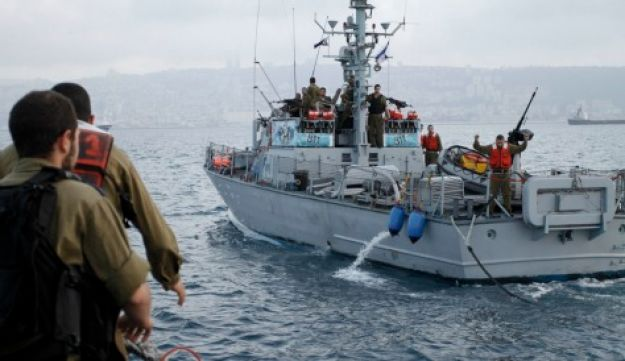 Israel Navy ships on the northern border with Lebanon