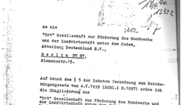 """Eichmann's letter notifying ORT that it is part of the """"Association of Jews in Germany."""""""