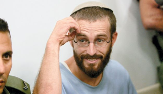Suspected murderer Chaim Pearlman in a Petah Tikva court in July.