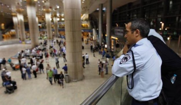 Security forces at Ben-Gurion Airport during the fly-in protest last year.