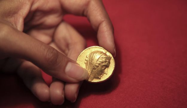 The 2,200-year-old gold coin is seen at the Israel Museum, in Jerusalem, on Aug. 11, 2010.