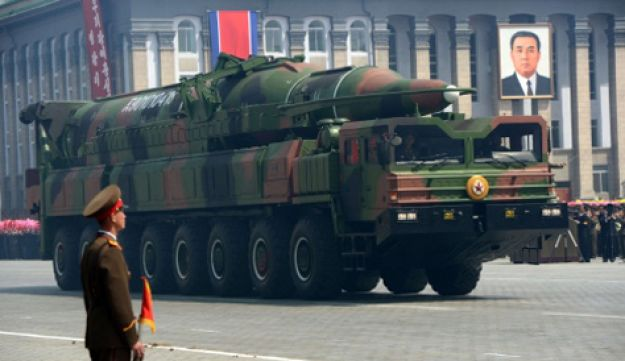 The new ballistic missile unveiled in North Korean this week.