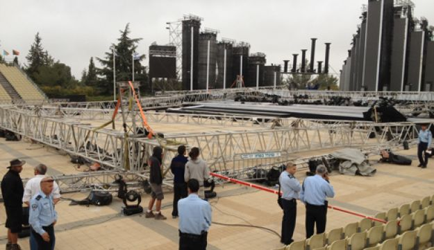 The collapsed lighting rig at Mount Herzl, April 18, 2012.