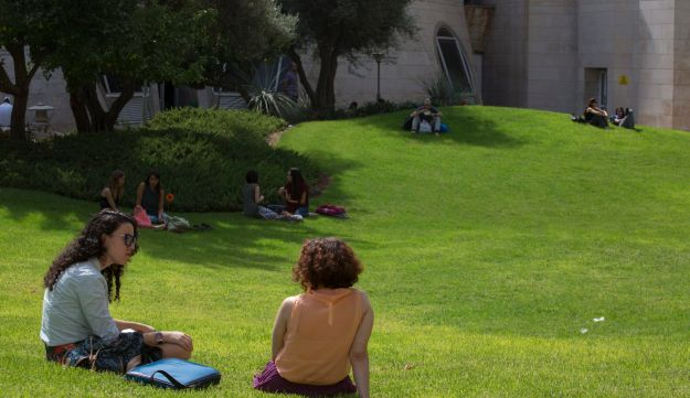 Students relax at the Hebrew University campus in Jerusalem.