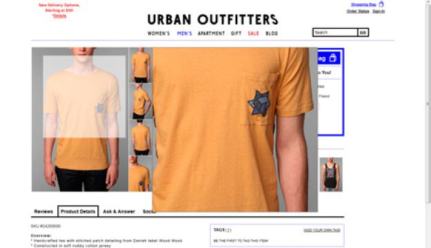 A screen grab from the Urban Outfitter's website, showing the 'Wood Wood Kellog Tee.'