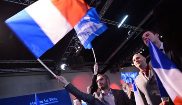 Supporters of French far right party Front National (FN) candidate Marine Le Pen.