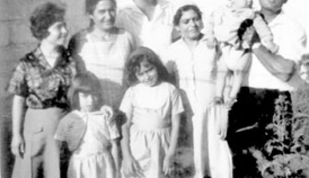 Pnina Bechor and her family in the refugee camp in the 1960s
