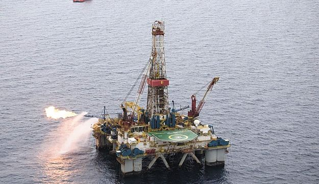 Drilling for natrual gas in the Mediterranean Sea.