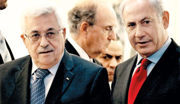 Mahmoud Abbas and Benjamin Netanyahu, AP