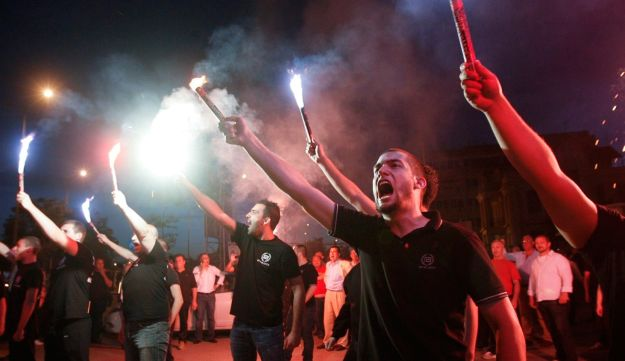 Supporters of the extreme-right Golden Dawn party in Greece - Reuters - May 6, 2012.