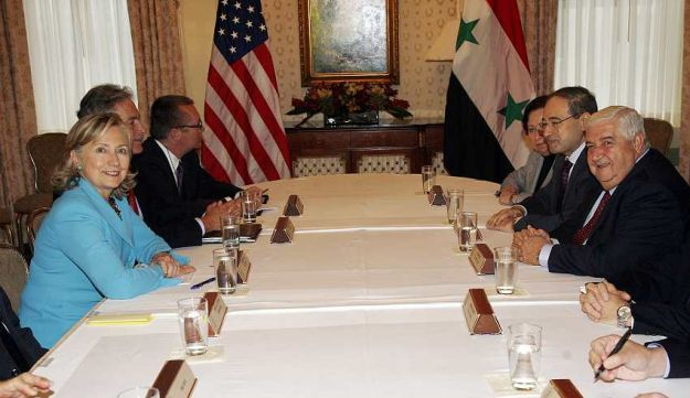 U.S. Secretary of State Hillary Clinton and Syrian FM Walid Moallem in New York on Sept. 27, 2010.