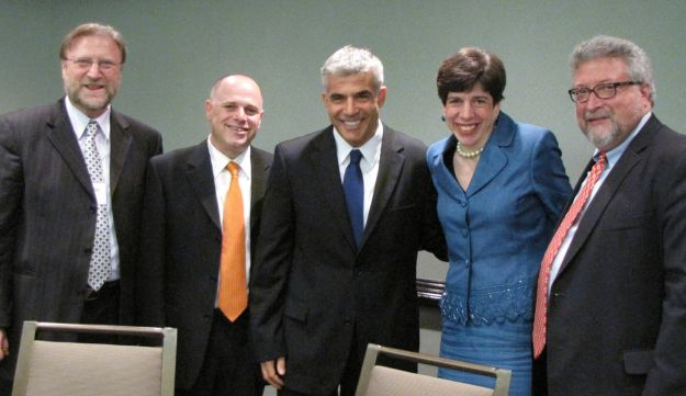 Yair Lapid, center, at the Rabbinical Assembly National Convention in Atlanta