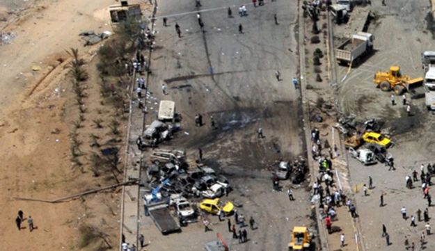 An aerial view shows the site of two explosions in Damascus, May 10, 2012.