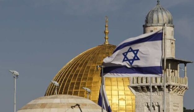 Israeli flag iby the Dome of the Rock AP