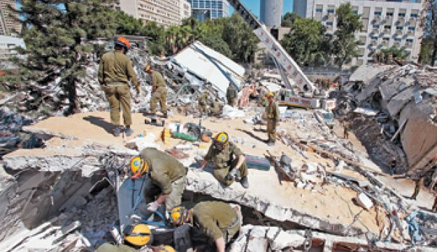 File photo of rescue workers practicing for an earthquake in Tel Aviv