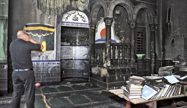 price-tag, burned mosque