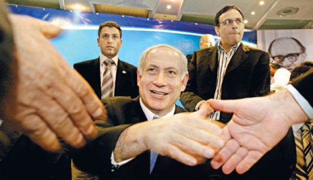 Benjamin Netanyahu at a an event with member of the Likud party in 2007 - Dudu Bachar