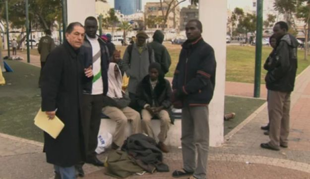A still from Gideon Levy's video report on a day in the life of a refugee in Tel Aviv.